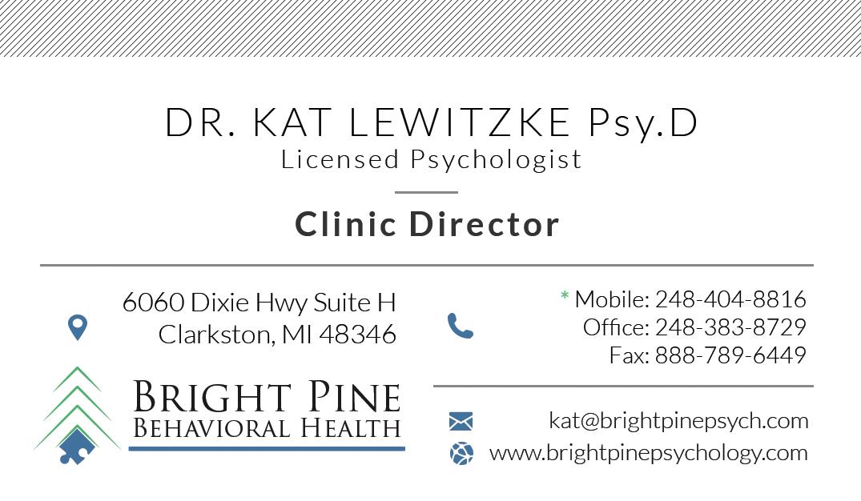 Dr Kat Lewitzke PsyD LP Business Card